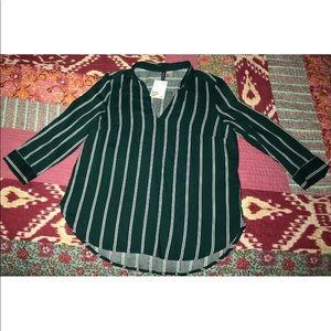 Women's Green Striped Tunic Top